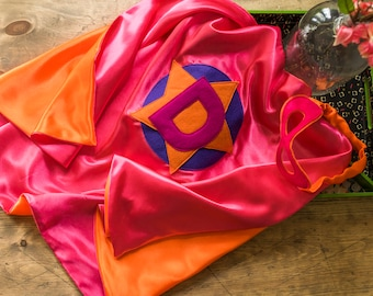 Super Hero Set, personalized. Cape & Crown or Mask. Coral Pink and Orange. Custom Cape. Imaginative play. Dress-up. Role Playing.