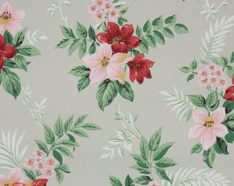 1940s Vintage Wallpaper by the Yard - Floral Wallpaper with Pink and Red Flowers on Gray