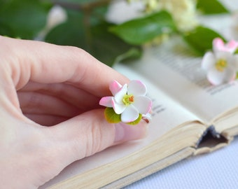 Clay flower rings Apple blossom ring Blossom jewelry White flower ring  Adjustable rings Pink flower jewelry Cherry blossom ring Gift shop