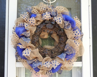 Wine Cork Memories in Blue Deco Mesh