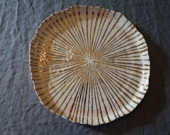 Platter with Radiating Gold Stripes