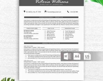 Creative Resume Template for Word | Modern 1-3 Page Resume Template, Icon Set, Cover Letter | Instant Download Resume Template