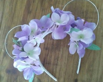 Purple Hydrangea and Wildflower Floral Wire Mouse Ears