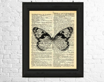 Butterfly Art Print, Butterfly Wall Art, Dictionary Page Art, Insect Print, Butterfly Poster, Insect Wall Art, Printable Art