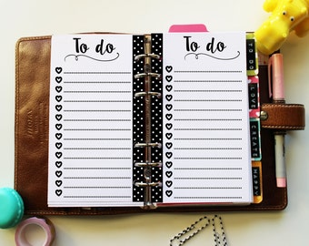 PERSONAL To do list with hearts and dots- cute printable planner inserts for filofax, kikki.K, organizer, life planner... INSTANT DOWNLOAD