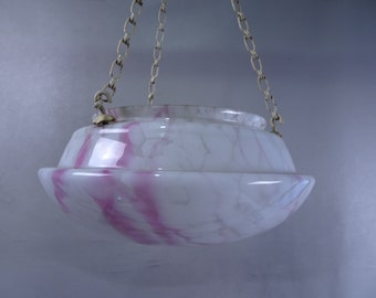 ART Deco grey/white/rose marbled upwards glass ceiling lamp lampshade-France-early 20th century