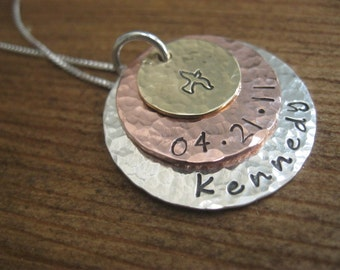 Mixed Metal Triple Stack Personalized Necklace