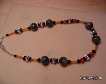 "23"" Green and Orange Necklace"