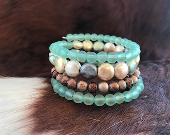 Green and tan memory wire bracelet