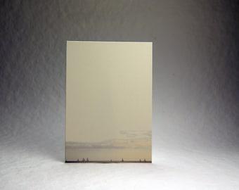 5x7 inch Print at Home Invitation Panels - 100% Recycled Cream Felt Sailboats Print set of 6