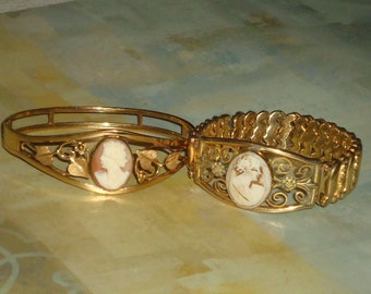 2 ANTiQUE CAMEO SHeLL BRACELETS ViNTAGE GOLD FiLLED Marked LEADiNG LaDY Hinged STReTCH WOMaN BuST Jewelry COLLeCTOR Conk Shell Ocean GiFT