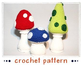 Mushrooms - Crochet Pattern - PDF file - Amigurumi