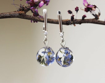 Forget me not earrings Resin Real Flower Wildflowers Sterling silver fogetmenots Forget me nots jewelry Gift for girlfriend Bridesmaid gift