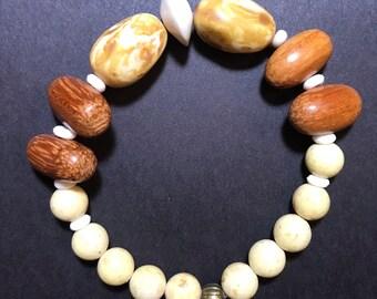 Tribal Bone,Wood,Riverstone, and bronze bead bracelet