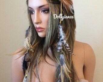 Indian Feather Headdress, Feather Crown, Native Crown, Feather Headband, Indian Headdress