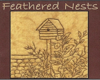 Feathered Nests - Log Cabin Birdhouse - Redwork Hand Embroidery Pattern - by Beth Ritter - Instant Digital Download