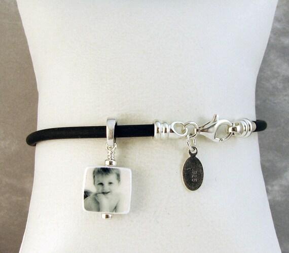 Mini Photo Charm on a Black Rubber Cord Bracelet - C4B10