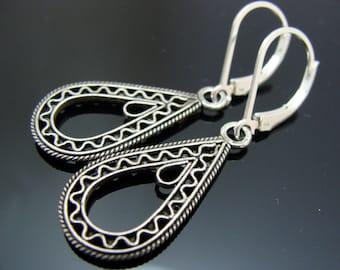Filigree Drop Sterling Silver Leverback Earrings