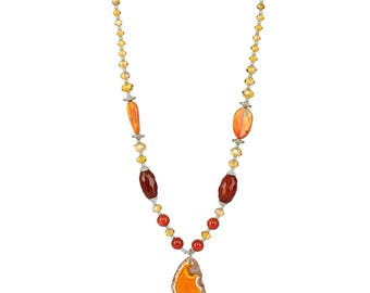 Bright and beautiful,Rondelle faceted beads pendant,Stone carved pendant Necklace, Gemstones Necklace