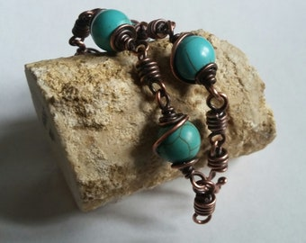 Turquoise Bead and Coil Bracelet