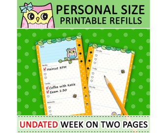 PRINTABLE Personal Size Cute Kawaii Owl DIY Week On Two Pages Refills for Filofax Organizer Planner Instant Download