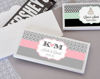 Chocolate Wedding Favors-Personalized Wedding Favors-Custom Candy Bar Wrapper Labels-Candy Bar Wedding Favors (set of 24)