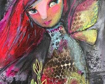 Mixed Media fantasy painting original Red Haired Fairy whimsical and magical