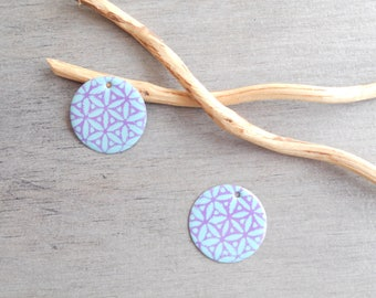 2 charms light turquoise and lilac sequins