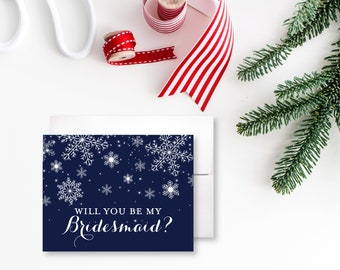 Bridesmaid Proposal Card Will You Be My Bridesmaid Card December Wedding Winter Wedding Ask Bridesmaid Gift Bridesmaid Cards #CL109