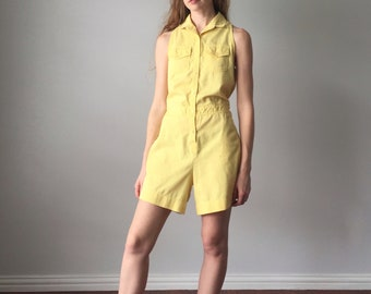 Vintage 1980s Romper / Yellow Button Down Tank Top 80s Romper / Justin Allen / Collared / Size L Large