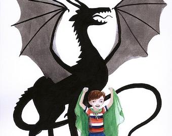 Boy Pretends to be Dragon -  Art Print, Illustration, Watercolor, 8x10, wild imagination