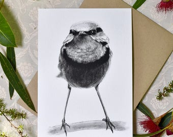 Blue wren (fairy-wren) greeting card with envelope, A6 print of original charcoal drawing, Australian wildlife art