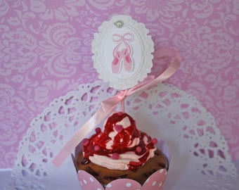 Set of 10 cake topper or decoration for cake on pic customizable ballerina themed
