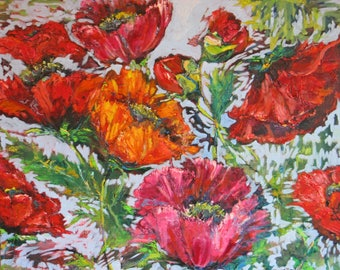 large abstract poppy original oil painting,impasto painting, modern floral palette knife art,contemporary garden art, wall decor,home decor