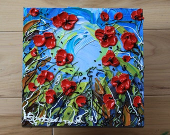 Red Poppies Abstract Floral Impasto Painting, Item# 287 12x12