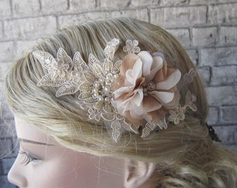 Beige Lace Comb/ Champagne Floral lace Comb, Pearl comb, Bridal accessories,wedding hairpiece
