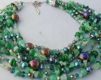 Green statement necklace,rainbow multistrand beaded crystal pearl and gemstone,jade, agate