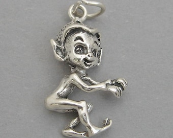 Sterling Silver 925 Charm Pendant PIXIE ELF Christmas Right Facing 4035