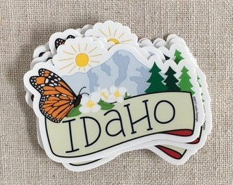 Idaho State Vinyl Sticker / Borah Peak / Monarch Butterfly / Syringa Flower / Water Bottle Sticker / Cool Laptop Sticker / Travel Sticker