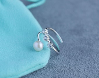Wrap Pearl Ring    Freshwater Pearl Ring    Silver Ring    Spiral Ring    Geometry Ring    Delicate Ring    Minimalist Ring    Ring for Her