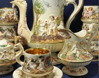 17 Piece Italian Capodimonte Teaset Lidded Teapot, 6 Teacups and saucers, Lidded Sugar, and  Creamer, Expresso Coffee set, Demitasse Set
