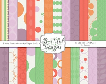 Commercial Use Purple Orange and Green Digital Paper Pack