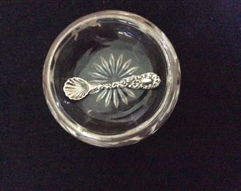 Art Nouveau Salt Cellar and Sterling Spoon, Sterling overlay on Sall Cellar, Spoon Marked