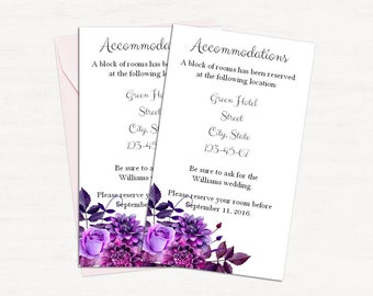 Purple accommodation cards printable Wedding information card diy Template details card Watercolor wedding info card Instant download 1W38