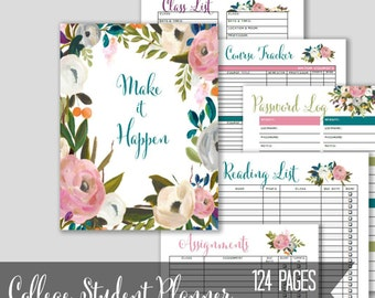 Academic Planner 2017-2018, College Student Planner, Printable Agenda, High School, Planner, Student Organization Sheets, Calendars