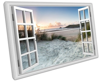 Window View sand dunes at Crantock beach English Seaside Ready to Hang X2396