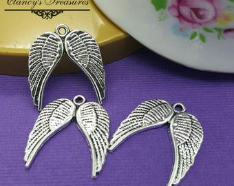 Wing Charms, Double Wing Charms, 20 Pieces,  21 x 19 mm, Angel Wings, Memory charms, Angel Wing Charms, Charm Lots, 20pcs,  CTDBWING