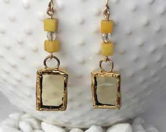 14kt. Gold Plated Yellow Stained Glass Earrings accented with Honey Onyx and crystal beads