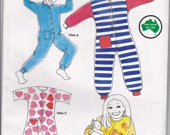 1980s Sewing Pattern - BevKnits 61 Childrens PJ's/Jumpsuit or Onesie  Size 2 - 12 Factory folded and complete