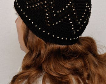 Women Laced Hat Beaded hat Classic Women Hat Crochet Hat Stretch Hat Handmade hat Beaded Beanie Spring Beanie Autumn Beanie gift|for|her